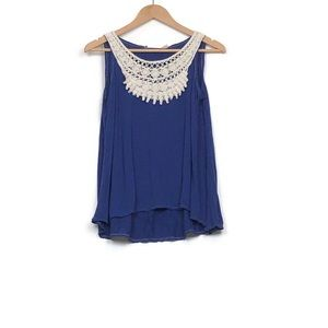 Chelsea & Violet Dark Blue High-Low Top - Size L